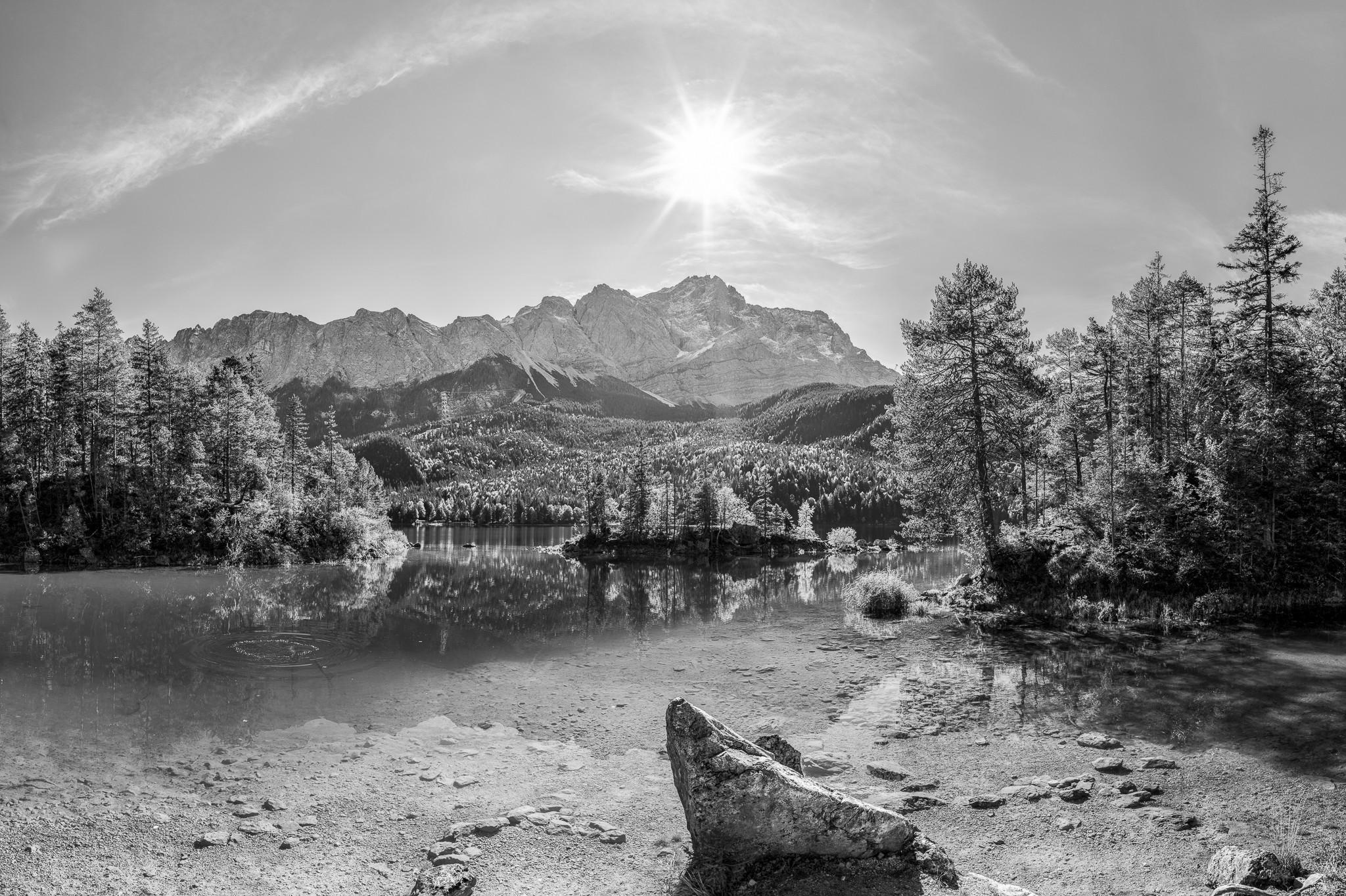 Eibsee - Braxenbucht - Zugspitze - schwarz weiß