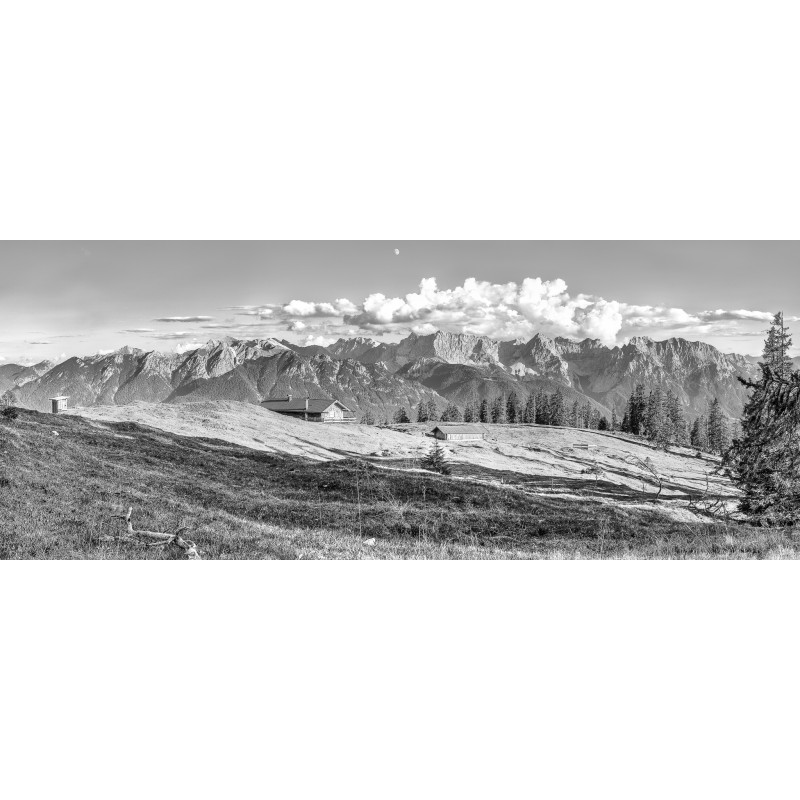 Almlandschaft - Krüner Alm - schwarz weiß