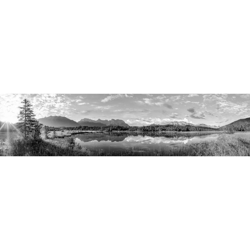 Barmsee Panorama - schwarz weiß
