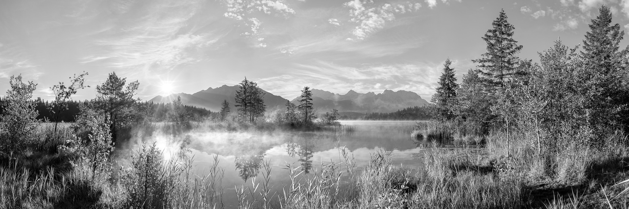 Barmsee - Morgenpanorama - schwarz weiß