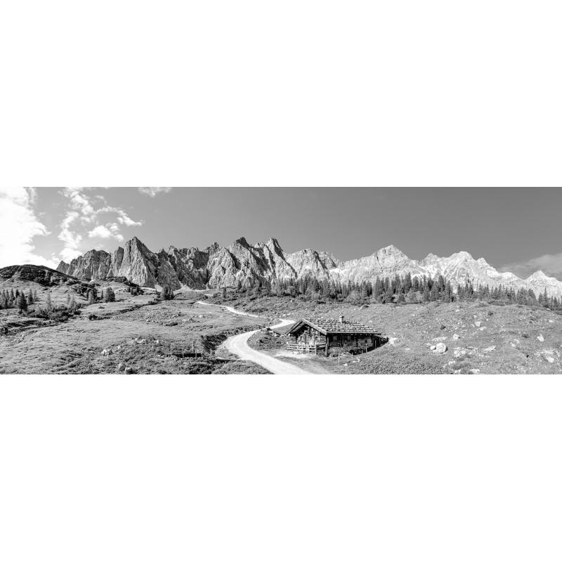 Karwendelhauptkamm - Panorama - Ladiz-Alm - schwarzweiß