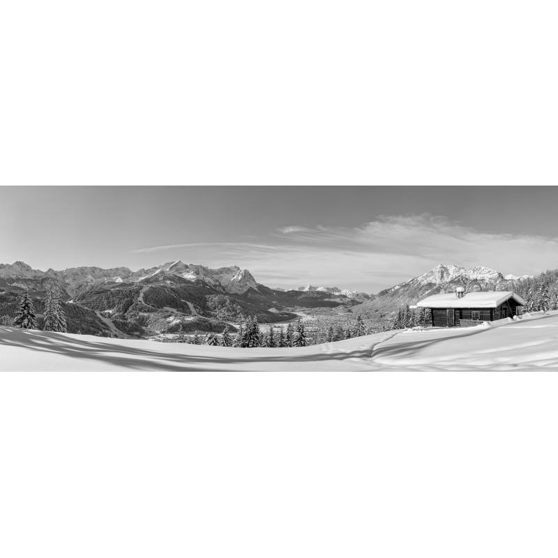 Winterlandschaft in Garmisch-Partenkirchen - Schwarz-Weiß