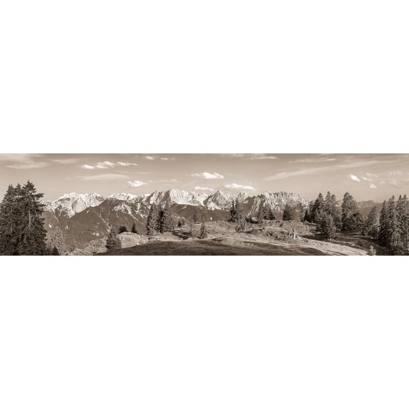 Almwiese - Karwendel und Soierngebirge Bergpanorama - Sepia