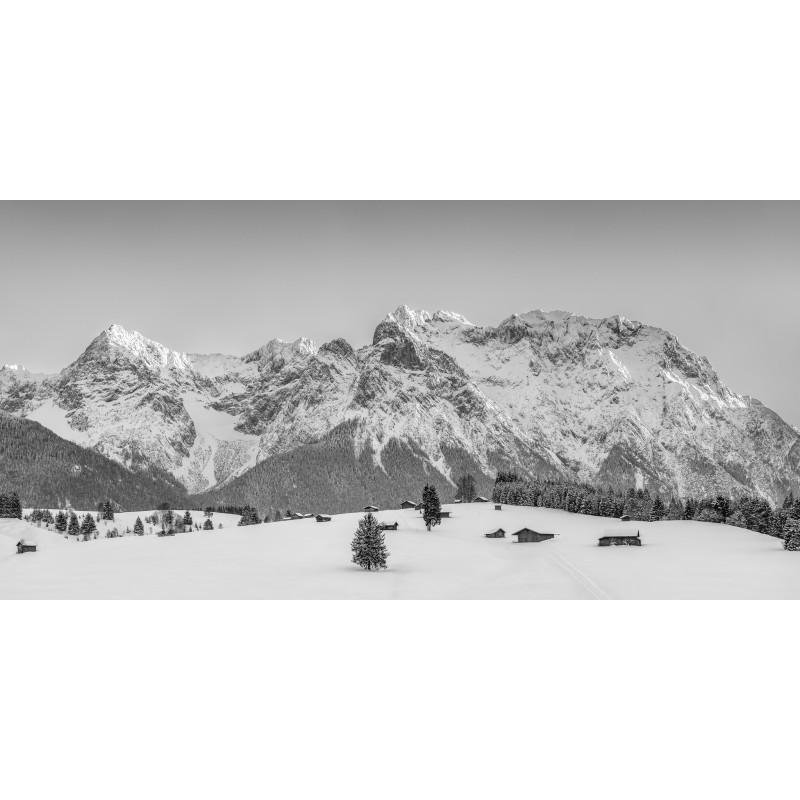 Karwendel - Buckelwiesen im Winter - schwarz weiß