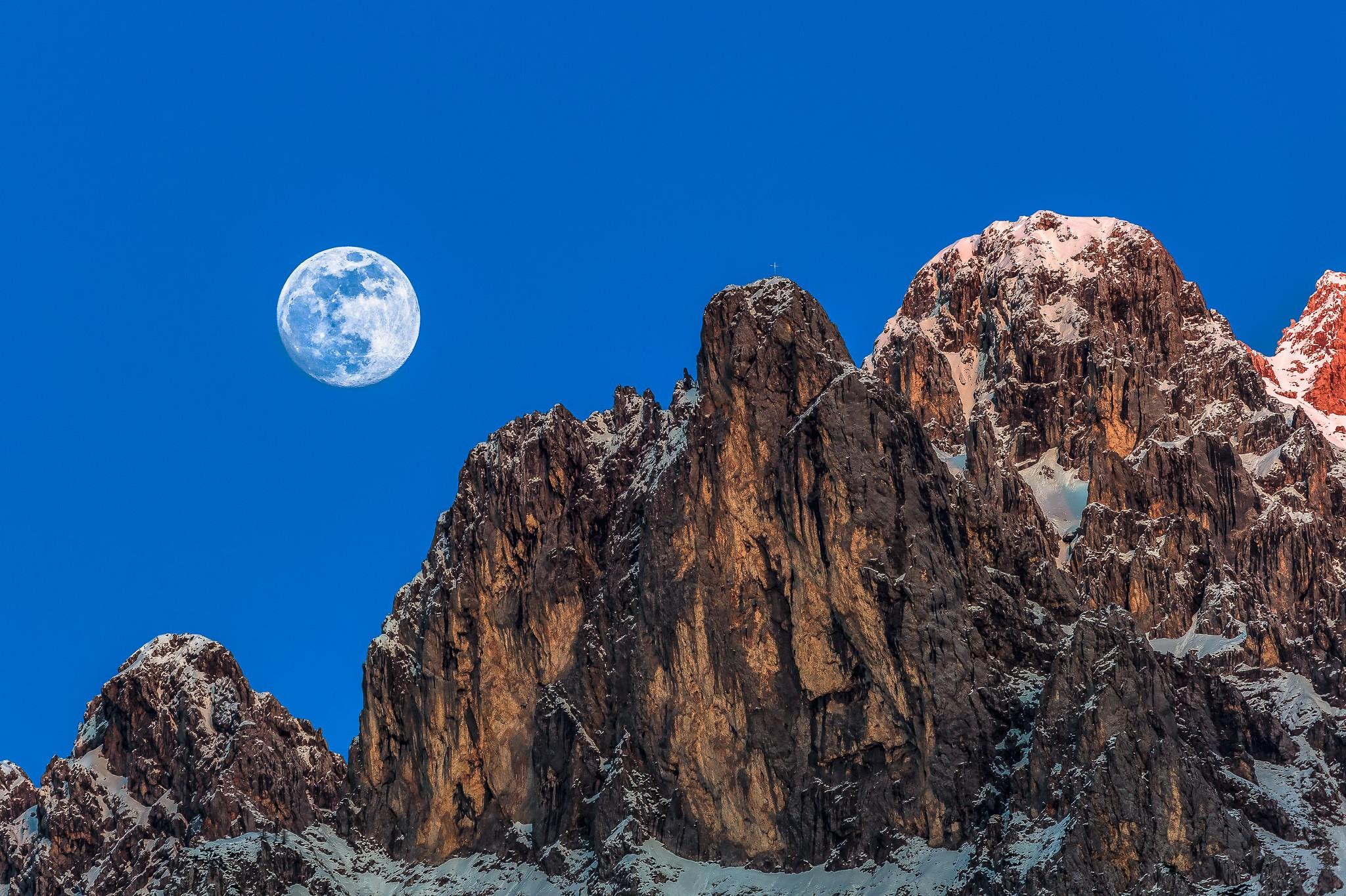 Vierer mit Mond - Karwendel mit Vollmond