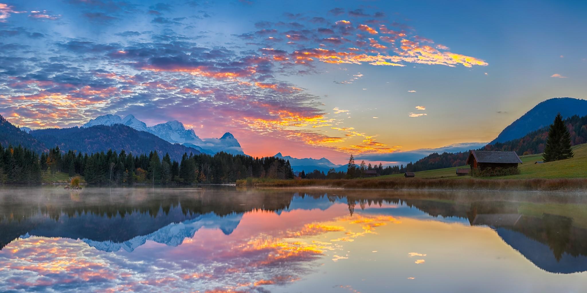 Geroldsee Wolkenstimmung Abendrot - Spiegelung der Wolken im See
