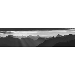 Sonnenuntergang Silhouetten - Bergpanorama schwarz weiß
