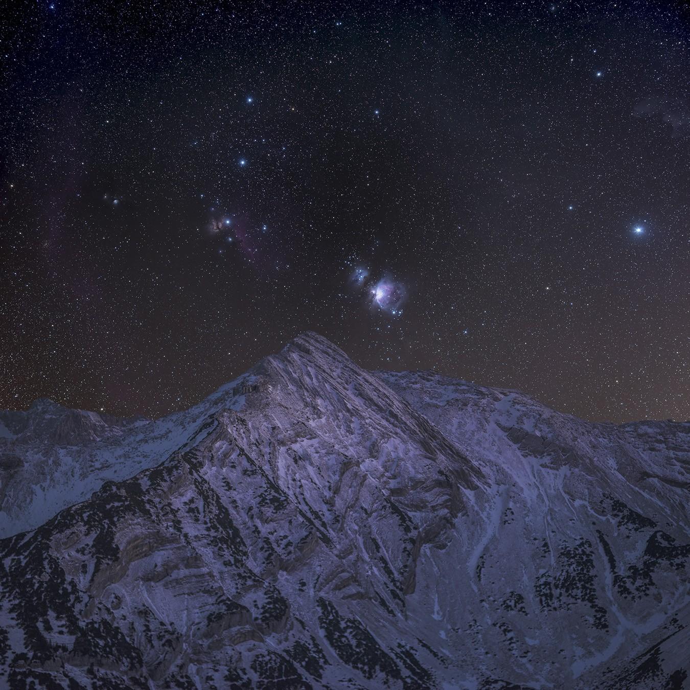 Orionnebels an der Krapfenkarspitze im Soierngebirge
