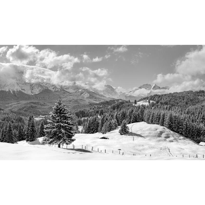 Winterlandschaft - Elmau und Alpspitze   schwarz-weiß