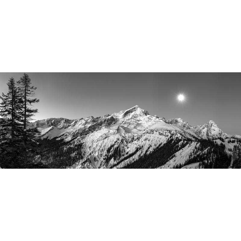 Mondlicht - Alpspitze und Zugspitze  - schwarz weiß