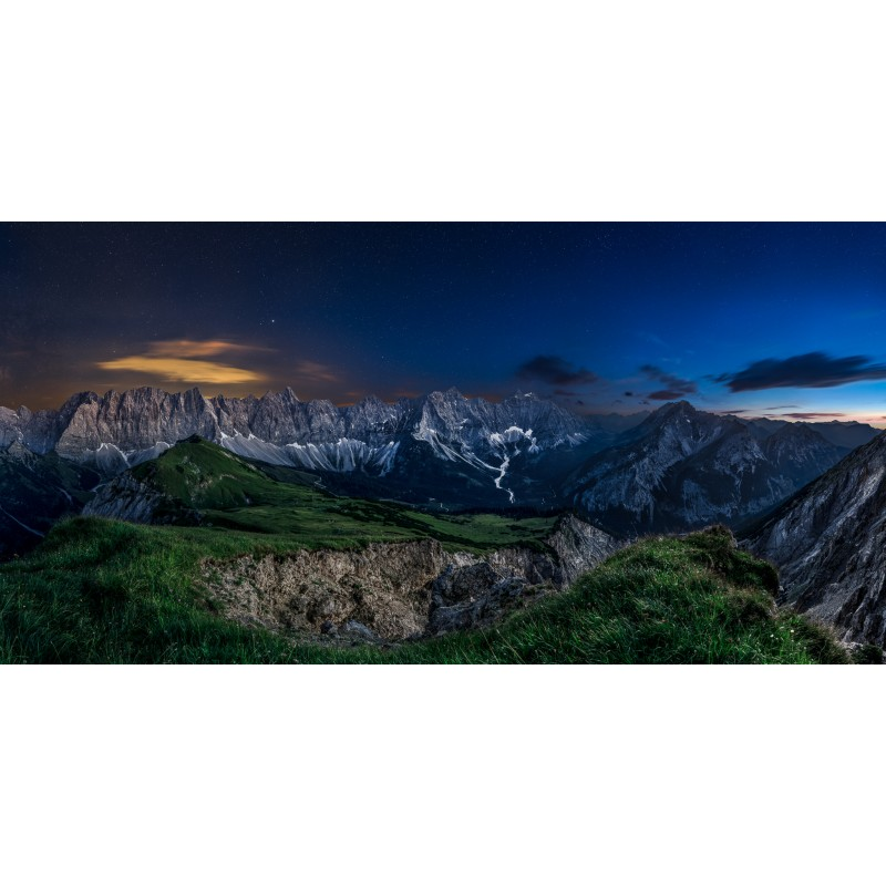 Sternenhimmel am Karwendelhauptkamm - Panorama