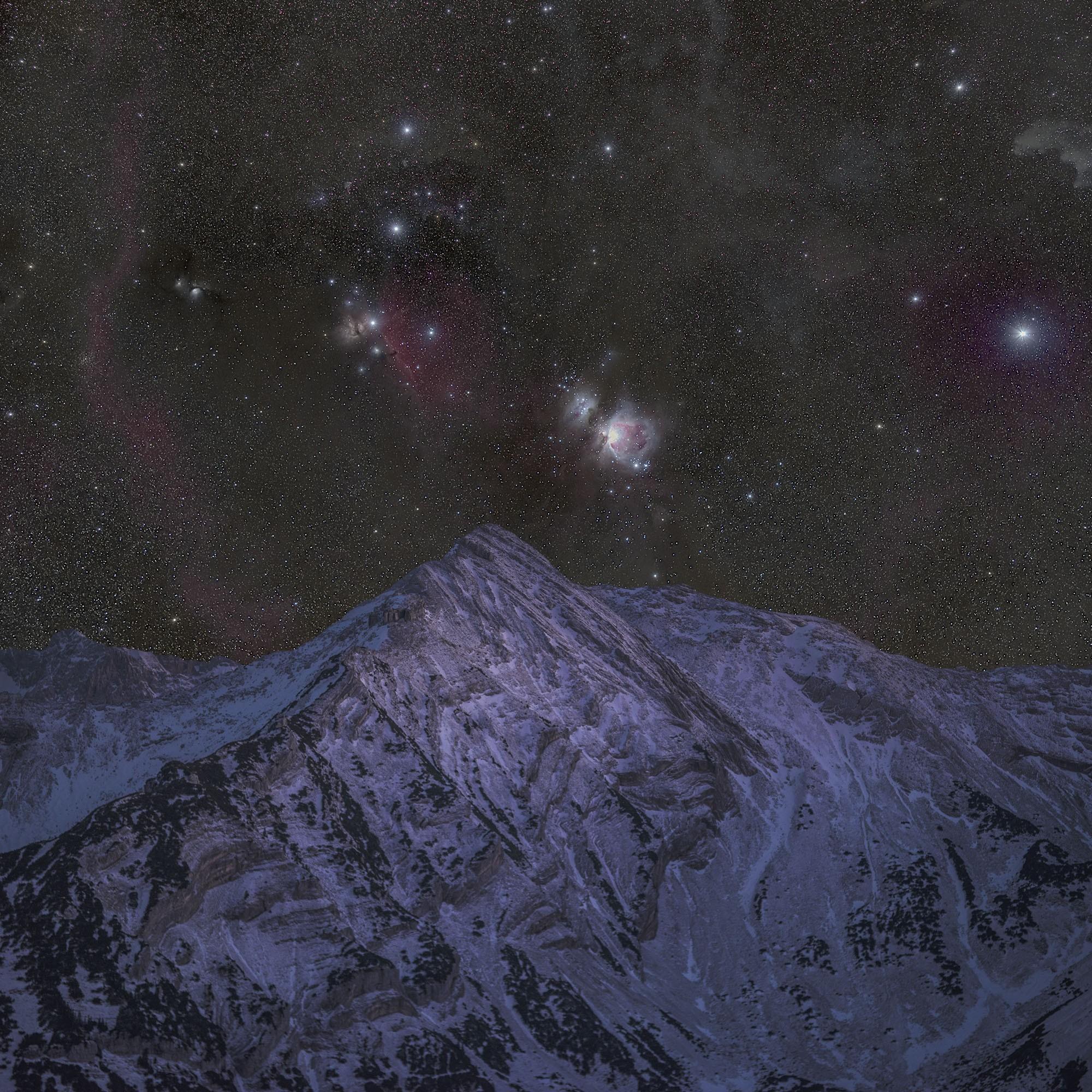 Deep Sky Edition! Star des Winterhimmels - Aufgang des Orionnebels an der Krapfenkarspitze im Soierngebirge.