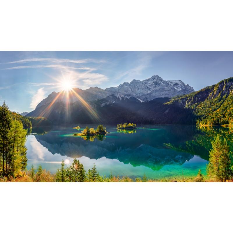 Eibsee mit Inseln - Zugspitze - Sonnenaufgang